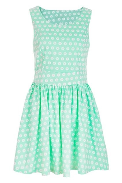 Retro Sleeveless Aqua Daisy Dress