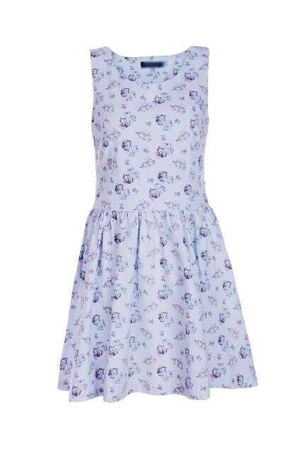 Retro Sleeveless Blue Cats Dress