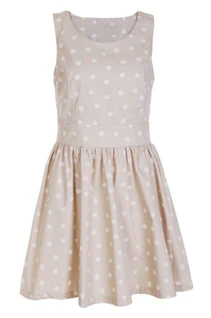 Retro Sleeveless Khaki Dots Dress