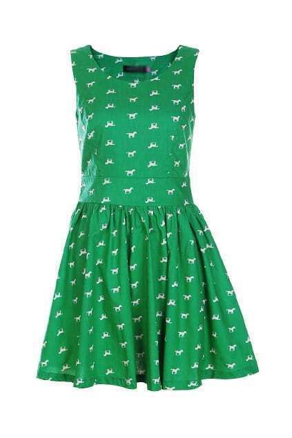 Retro Sleeveless Green Dots Dress