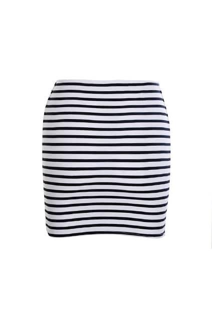 Slim Elastic Stripes Skirt