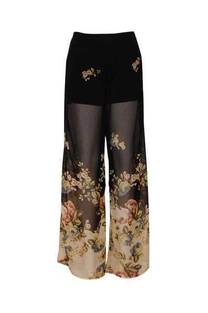 Retro Flowers Lined Black Pants