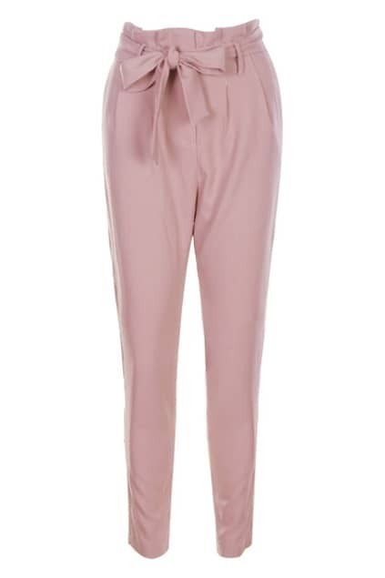 Bowknot Waistband Nude-pink Pants