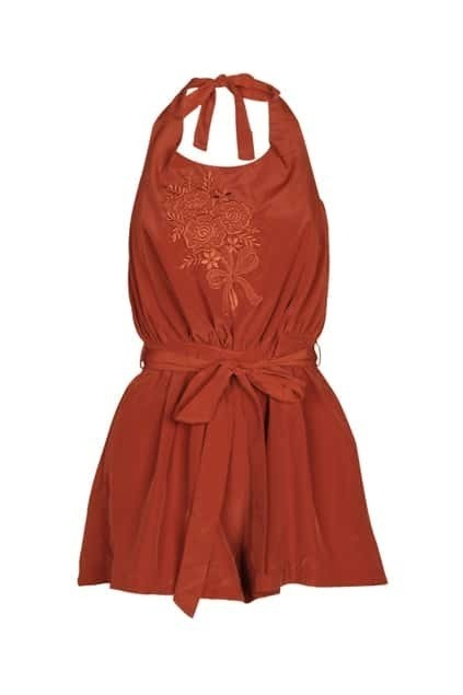 Embroidered Flower Bowknot Orange-red Jumpsuits