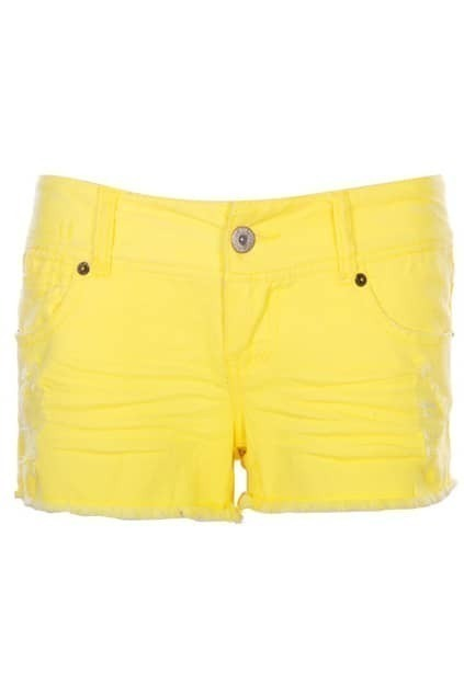 Retro Elastic Cotton Lemon-yellow Shorts
