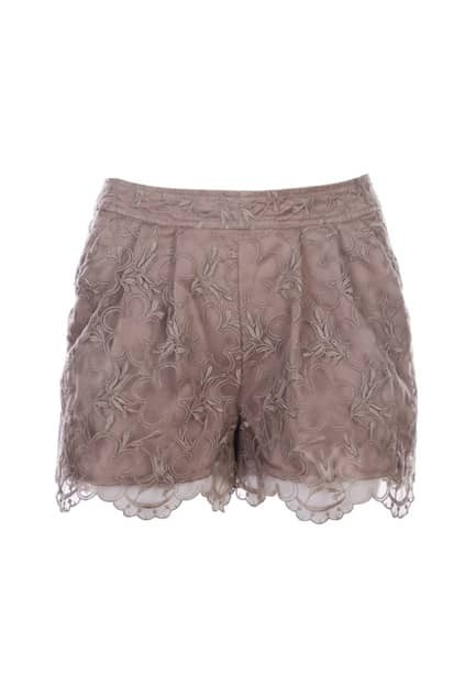 Stereoscopic Embroidery Cameo-brown Shorts