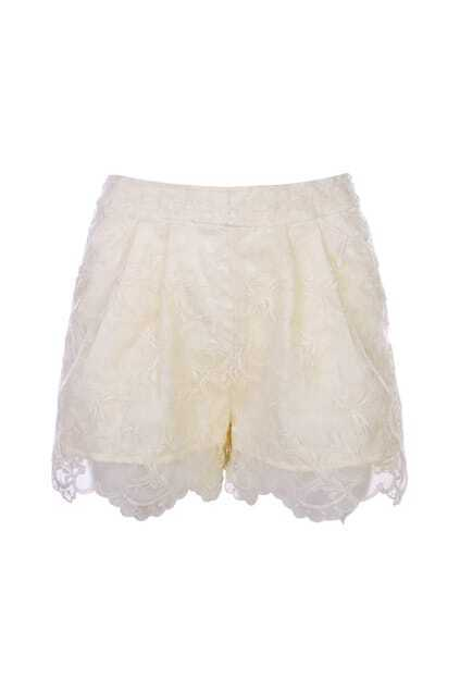 Stereoscopic Embroidery Crystal-cream Shorts