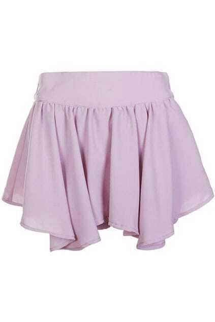 Tied Anomalous Hem Light-purple Shorts