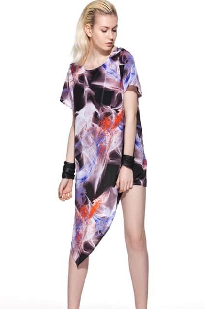 Anomalous Hem Oversized Printing Dress