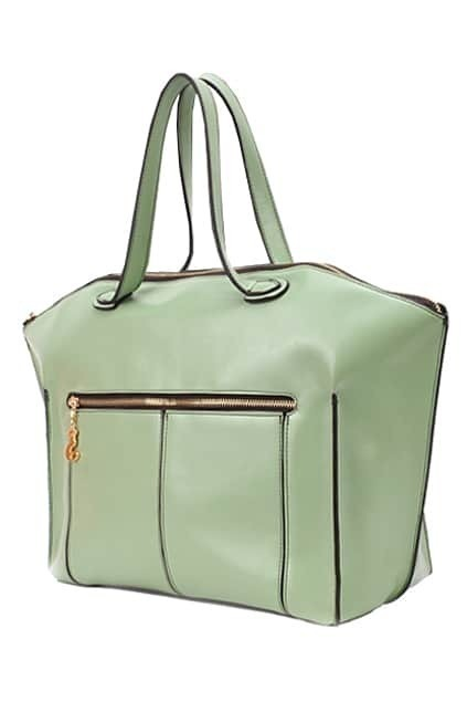 Brief Style Mint-green Handbag