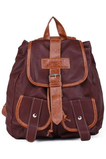 Pockets Brown Backpack