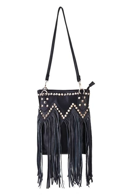 Rivets Detailed Fringe Bag