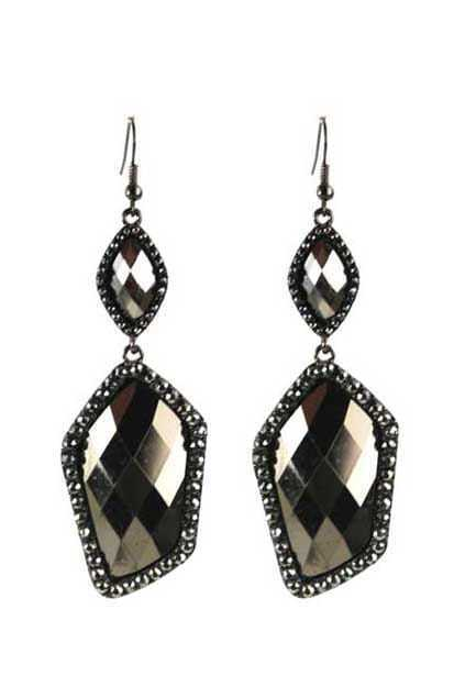 Faceted Daimond Black Earrings