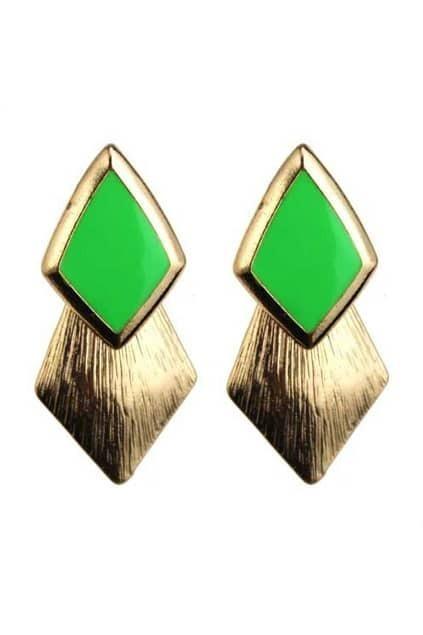 Neon Rhombus Golden Earrings