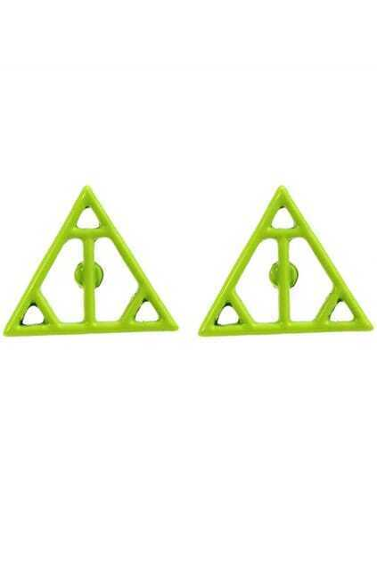Hollow Out Neon Triangle Earrings