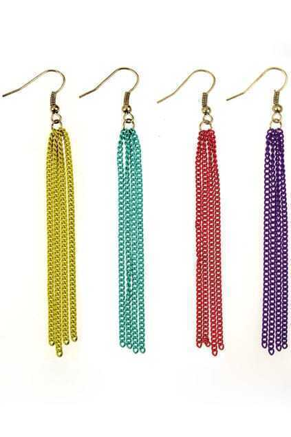 Long Neon Tassel Earrings