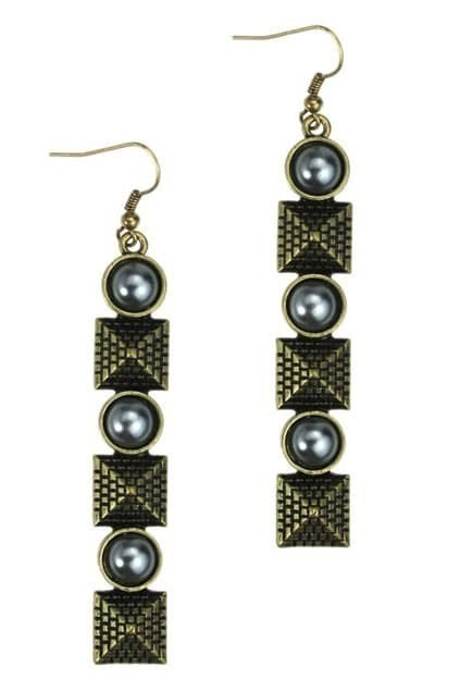 Beads And Rivets Tassel Earrings