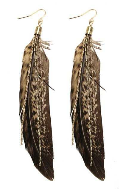 Grey Feather Pendant Earrings