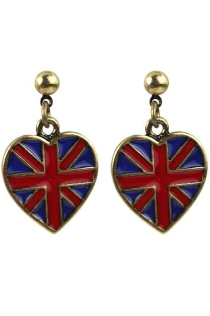 Love Pendant Union Jack Earrings
