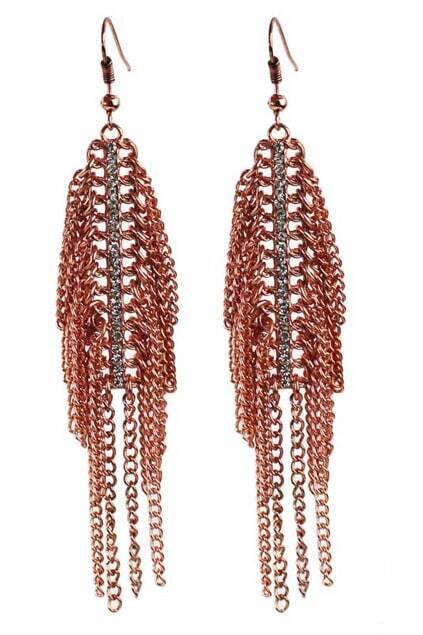 Red Copper Tassel Earrings