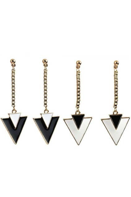 Triangle Pendant Tassel Earrings