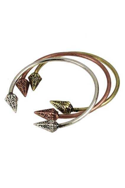 Crooked Spikes Open Bracelet