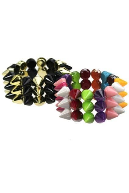 Color Contrast Spikes Bracelet