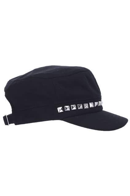Rivets Detailed Black Cap