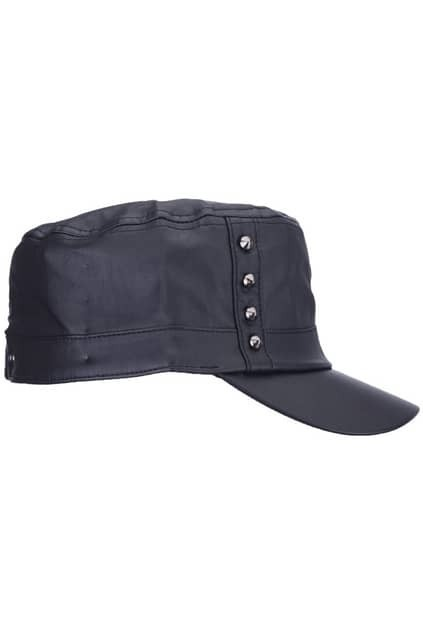 Rivets Detailed Leather-look Cap
