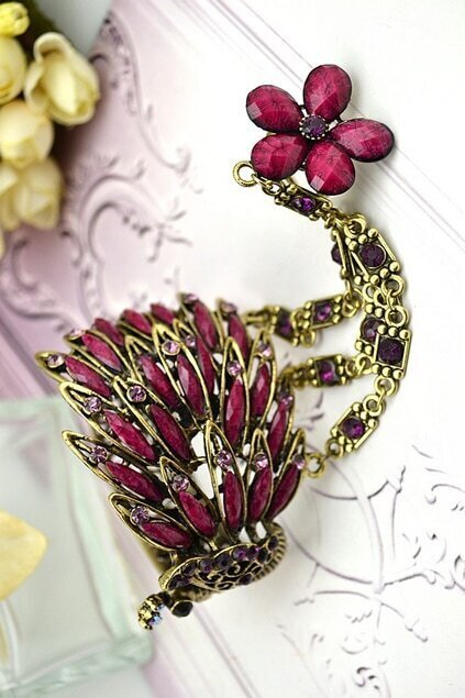 Purple Crystals Peafowl Ring Bracelet