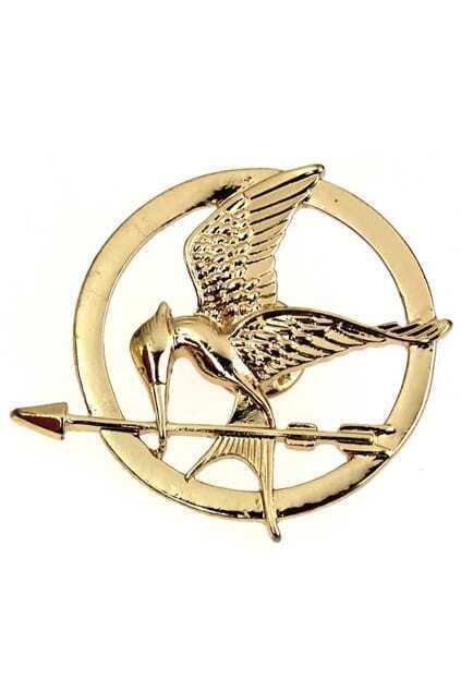 Birds And Arrow Golden Brooch