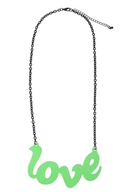 LOVE Charm Green Necklace