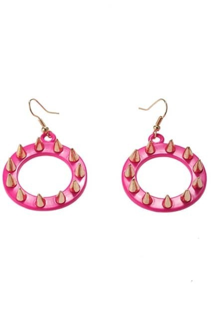 Rivets Detailed Hoop Drop Earrings