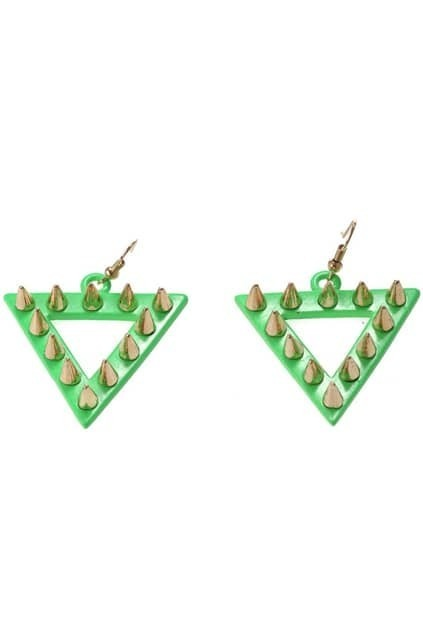 Rivets Detailed Triangle Drop Earrings