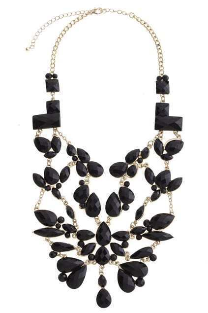 Floral Statement Black Necklace