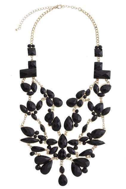 Floral Statement Black Necklace