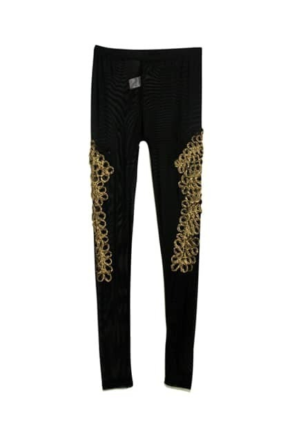 Golden Metal Flower Black Leggings