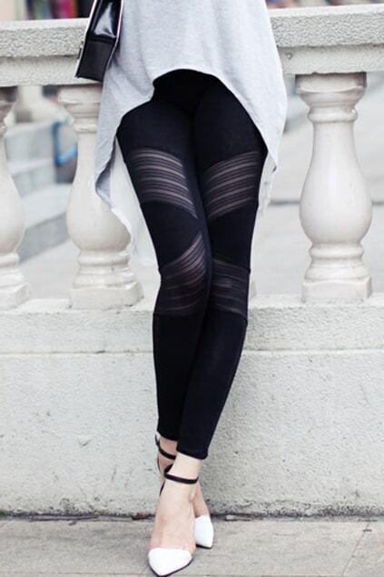Retro Black Cotton Leggings