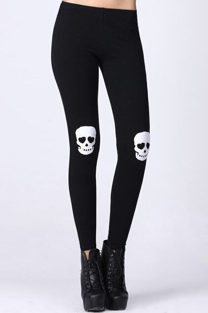 Skull Patch Black Leggings