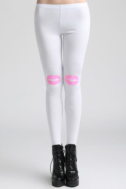 Lips Print White Leggings