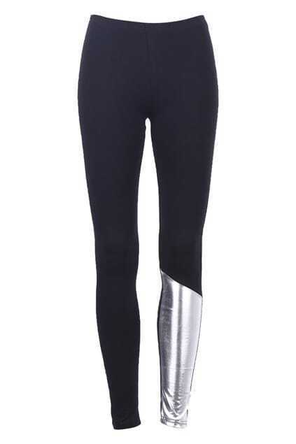Sliver-tone Panel Leggings