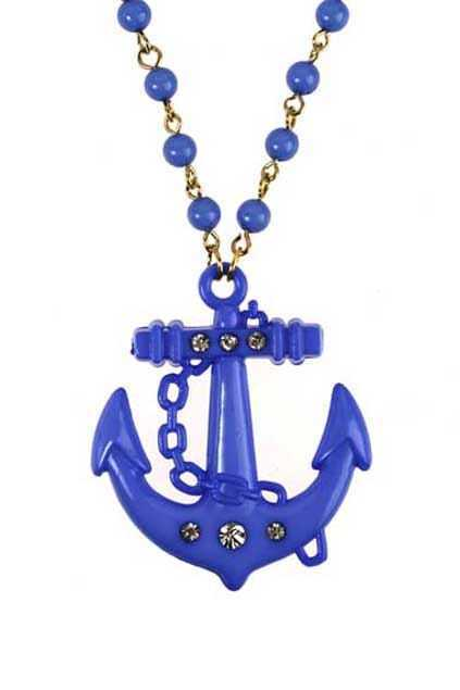 Dark Blue Anchor Pendant Necklace