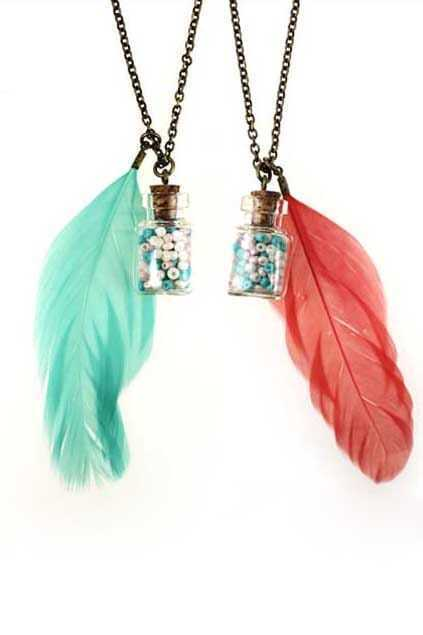 Wish Bottle And Feather Necklace