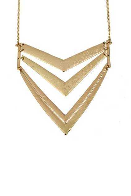 Hollow Out Triangle Golden Necklace