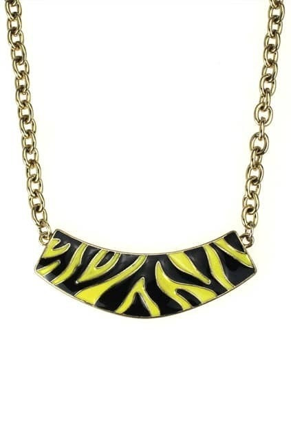 Yellow Leopard Printed Necklace
