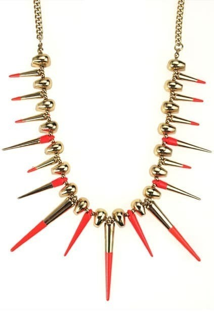 Golden Skull Heads And Neon Spikes Necklace
