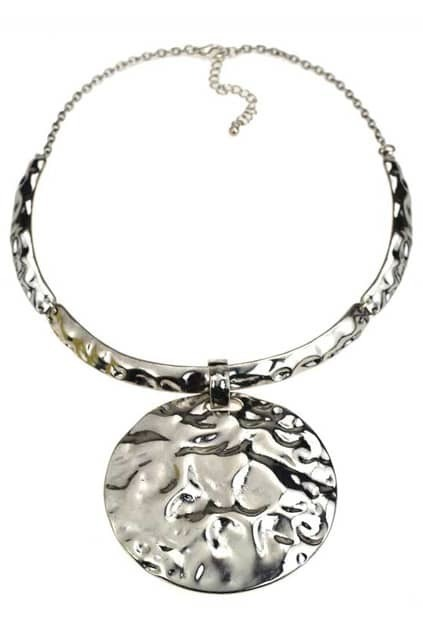 Big Disc Pendant Silver Necklace
