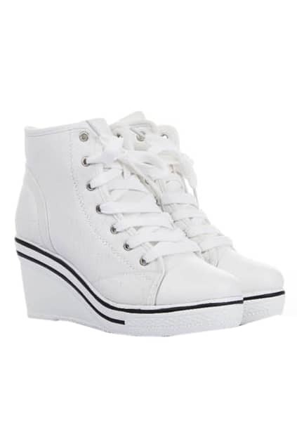Wedge-soled White Canvas Shoes