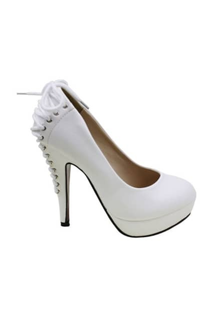 Lace Back White High-heel Shoes