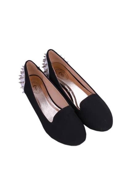 Rivets Back Black Plate Shoes